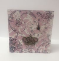 Shabby Chic Square Wall or Mantel Crown Clock ~ LOVE